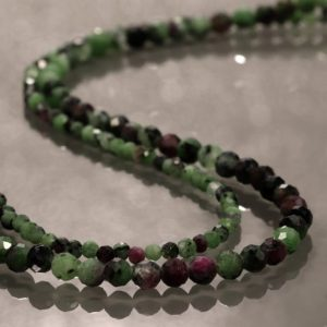 Shop Ruby Zoisite Necklaces! Ruby Zoisite Necklace Gemstone beads necklace Multi strand silver necklace double layer gemstone necklace ruby necklace gemstone jewelry | Natural genuine Ruby Zoisite necklaces. Buy crystal jewelry, handmade handcrafted artisan jewelry for women.  Unique handmade gift ideas. #jewelry #beadednecklaces #beadedjewelry #gift #shopping #handmadejewelry #fashion #style #product #necklaces #affiliate #ad
