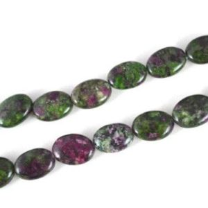Ruby-Zoisite Oval Stone Beads, Sold by 1 strand of 14x11mm, 0.5mm hole opening | Natural genuine other-shape Ruby Zoisite beads for beading and jewelry making.  #jewelry #beads #beadedjewelry #diyjewelry #jewelrymaking #beadstore #beading #affiliate #ad