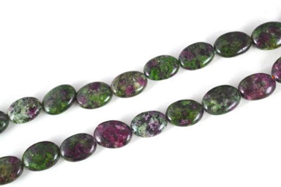 Ruby-zoisite Oval Stone Beads, Sold By 1 Strand Of 14x11mm, 0.5mm Hole Opening
