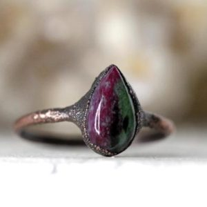 Shop Ruby Zoisite Jewelry! Ruby Zoisite Ring – Polished Stone Ring – Natural Pink Stone – Pink Crystal Ring – Copper Jewelry | Natural genuine Ruby Zoisite jewelry. Buy crystal jewelry, handmade handcrafted artisan jewelry for women.  Unique handmade gift ideas. #jewelry #beadedjewelry #beadedjewelry #gift #shopping #handmadejewelry #fashion #style #product #jewelry #affiliate #ad