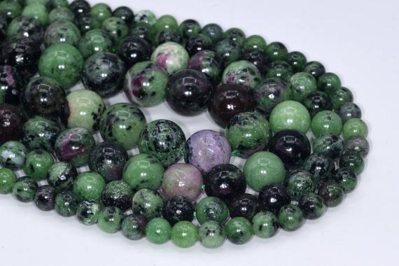 Genuine Natural Ruby Zoisite Loose Beads Grade A Round Shape 6mm 8mm 10mm 12mm