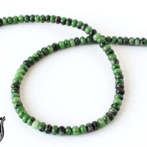 Shop Ruby Zoisite Rondelle Beads! Ruby Zoisite Roundale Plain 6 mm,Green,Red color, AAA Quality 15 inch full strand. Very creative & one of a kind 100% natural, | Natural genuine rondelle Ruby Zoisite beads for beading and jewelry making.  #jewelry #beads #beadedjewelry #diyjewelry #jewelrymaking #beadstore #beading #affiliate #ad
