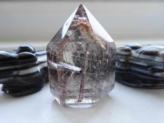 Rutilated Quartz Crystal Point ~ Polished Red Rutile Quartz Specimen