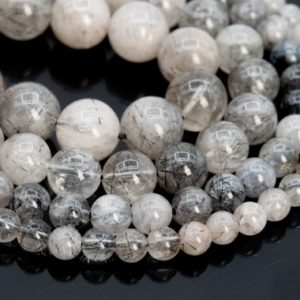 Shop Rutilated Quartz Round Beads! Genuine Natural Black Rutilated Quartz Loose Beads Grade A Round Shape 6mm 8mm 9-10mm 12mm | Natural genuine round Rutilated Quartz beads for beading and jewelry making.  #jewelry #beads #beadedjewelry #diyjewelry #jewelrymaking #beadstore #beading #affiliate #ad