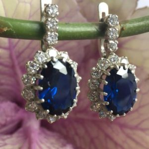 Blue Sapphire Earrings, Princess Diana Earrings, Royal Blue Earrings, Something Blue Earrings, Bridal Earrings, Blue Earrings | Natural genuine Gemstone earrings. Buy handcrafted artisan wedding jewelry.  Unique handmade bridal jewelry gift ideas. #jewelry #beadedearrings #gift #crystaljewelry #shopping #handmadejewelry #wedding #bridal #earrings #affiliate #ad