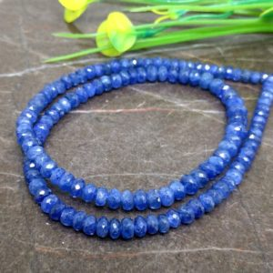 Shop Sapphire Faceted Beads! 4-5mm – Natural Blue Sapphire Faceted Rondelle Gemstone Beads / 127 Pcs. in the lot / Total Weight: 85.25 Cts. / JBC-ET-145388 | Natural genuine faceted Sapphire beads for beading and jewelry making.  #jewelry #beads #beadedjewelry #diyjewelry #jewelrymaking #beadstore #beading #affiliate #ad