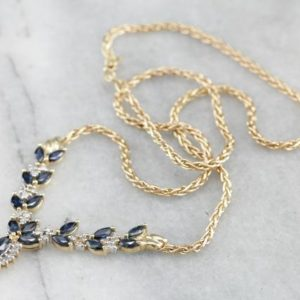 Shop Sapphire Necklaces! Sapphire And Diamond Yellow Gold Necklace A34ull-n | Natural genuine Sapphire necklaces. Buy crystal jewelry, handmade handcrafted artisan jewelry for women.  Unique handmade gift ideas. #jewelry #beadednecklaces #beadedjewelry #gift #shopping #handmadejewelry #fashion #style #product #necklaces #affiliate #ad
