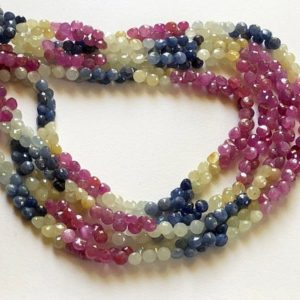 Shop Sapphire Bead Shapes! 16 Inch Multi Sapphire Onion Beads, 5mm Natural Multi Sapphire Faceted Onion Beads, 142 Pcs Sapphire Necklace – Aag15 | Natural genuine other-shape Sapphire beads for beading and jewelry making.  #jewelry #beads #beadedjewelry #diyjewelry #jewelrymaking #beadstore #beading #affiliate #ad