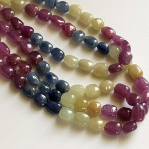 Shop Sapphire Bead Shapes! 9-10mm Multi Sapphire Plain Oval Tumbles, Natural Multi Sapphire Plain Oval Tumbles, Sapphire Necklace For Jewelry (4IN To 16IN Options) | Natural genuine other-shape Sapphire beads for beading and jewelry making.  #jewelry #beads #beadedjewelry #diyjewelry #jewelrymaking #beadstore #beading #affiliate #ad