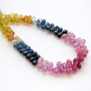 Shop Sapphire Bead Shapes! Natural Rare 5mm To 6mm Yellow Pink Blue Multi Sapphire Teardrop Faceted Briolette Beads, Sold As 15 Inch/7.5 Inch, GDS1460 | Natural genuine other-shape Sapphire beads for beading and jewelry making.  #jewelry #beads #beadedjewelry #diyjewelry #jewelrymaking #beadstore #beading #affiliate #ad