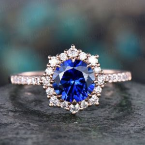 Round halo cluster blue sapphire engagement ring 14k rose gold ring moissanite ring band sapphire ring gold women vintage gold jewelry gift | Natural genuine Array rings, simple unique alternative gemstone engagement rings. #rings #jewelry #bridal #wedding #jewelryaccessories #engagementrings #weddingideas #affiliate #ad