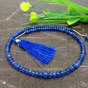 Shop Sapphire Rondelle Beads! Natural Blue Sapphire 4-6mm Smooth Rondelle Gemstone Beads / Approx 110 pieces on 12 Inch long strand / JBC-ET-144001 | Natural genuine rondelle Sapphire beads for beading and jewelry making.  #jewelry #beads #beadedjewelry #diyjewelry #jewelrymaking #beadstore #beading #affiliate #ad