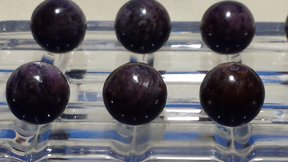Natural Sapphire Sphere Mineral Sample, Black & Purple 16mm, 9 Grams, 45 Carats From India, Small Size Black Star Sapphire Sphere.