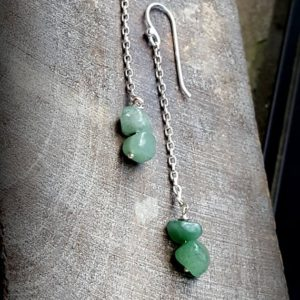 Shop Aventurine Earrings! Seafoam Green Aventurine Duster Dangle Earrings, Raw Aventurine on Sterling, Long Dangles of Organic Green Aventurine on Sterling, Modern | Natural genuine Aventurine earrings. Buy crystal jewelry, handmade handcrafted artisan jewelry for women.  Unique handmade gift ideas. #jewelry #beadedearrings #beadedjewelry #gift #shopping #handmadejewelry #fashion #style #product #earrings #affiliate #ad