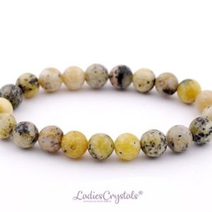 Shop Serpentine Bracelets! 8mm yellow dalmatian jasper, Serpentinite Bracelets 8 mm , Yellow Serpentine Healing Stone, Chyta Serpentine Beaded Bracelet, Serpentine | Natural genuine Serpentine bracelets. Buy crystal jewelry, handmade handcrafted artisan jewelry for women.  Unique handmade gift ideas. #jewelry #beadedbracelets #beadedjewelry #gift #shopping #handmadejewelry #fashion #style #product #bracelets #affiliate #ad
