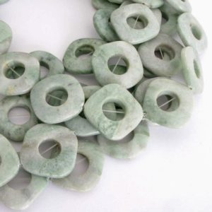 Shop Serpentine Bead Shapes! 27mm Serpentine Beads, Diamond Shape with Center Holes, Design Element, Light Seafoam Green Gemstone Beads, Natural Serpentine Beads, Ser208 | Natural genuine other-shape Serpentine beads for beading and jewelry making.  #jewelry #beads #beadedjewelry #diyjewelry #jewelrymaking #beadstore #beading #affiliate #ad