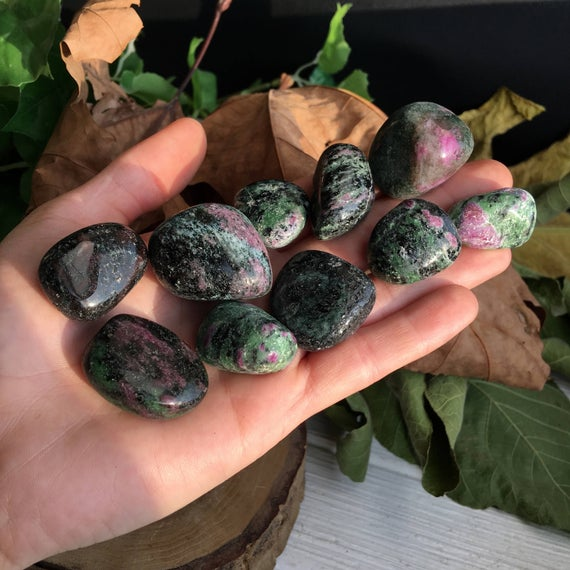 Set Of 10! Pink Ruby With Green Zoisite Crystal Tumble Set !