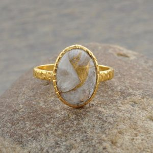 Shop Calcite Jewelry! Silver Ring, Hammered Ring, Copper White Calcite Ring, Oval 10x14mm Ring, Gold Plated Ring, 925 Sterling Silver Bezel Ring, Stone Ring #1069 | Natural genuine Calcite jewelry. Buy crystal jewelry, handmade handcrafted artisan jewelry for women.  Unique handmade gift ideas. #jewelry #beadedjewelry #beadedjewelry #gift #shopping #handmadejewelry #fashion #style #product #jewelry #affiliate #ad