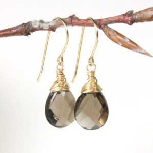 Shop Smoky Quartz Earrings! SMOKEY QUARTZ Earrings, Gold Filled wire wrapped natural gemstones simple minimalist dangle drops birthday gift for her women mom wife 4805 | Natural genuine Smoky Quartz earrings. Buy crystal jewelry, handmade handcrafted artisan jewelry for women.  Unique handmade gift ideas. #jewelry #beadedearrings #beadedjewelry #gift #shopping #handmadejewelry #fashion #style #product #earrings #affiliate #ad