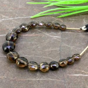 Shop Smoky Quartz Faceted Beads! Natural Smoky Quartz 5.5-11mm Faceted Round Gemstone Beads / Approx 17 Pieces On 5 Inch Long Strand / Jbc-et-155722 | Natural genuine faceted Smoky Quartz beads for beading and jewelry making.  #jewelry #beads #beadedjewelry #diyjewelry #jewelrymaking #beadstore #beading #affiliate #ad