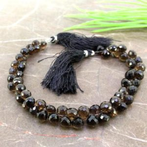 Shop Smoky Quartz Faceted Beads! Natural Smoky Quartz 6-7mm Faceted Onion Gemstone Beads / Approx 62 Pieces On 8 Inch Long Strand / Jbc-et-155725 | Natural genuine faceted Smoky Quartz beads for beading and jewelry making.  #jewelry #beads #beadedjewelry #diyjewelry #jewelrymaking #beadstore #beading #affiliate #ad