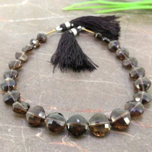 Shop Smoky Quartz Faceted Beads! Natural Smoky Quartz 6.5-10.5mm Faceted Cushion Gemstone Beads / Approx 23 Pieces On 8 Inch Long Strand / Jbc-et-155718 | Natural genuine faceted Smoky Quartz beads for beading and jewelry making.  #jewelry #beads #beadedjewelry #diyjewelry #jewelrymaking #beadstore #beading #affiliate #ad