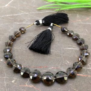 Shop Smoky Quartz Faceted Beads! Natural Smoky Quartz 7.5-11.5mm Faceted Cushion Gemstone Beads / Approx 21 Pieces On 8 Inch Long Strand / Jbc-et-155717 | Natural genuine faceted Smoky Quartz beads for beading and jewelry making.  #jewelry #beads #beadedjewelry #diyjewelry #jewelrymaking #beadstore #beading #affiliate #ad