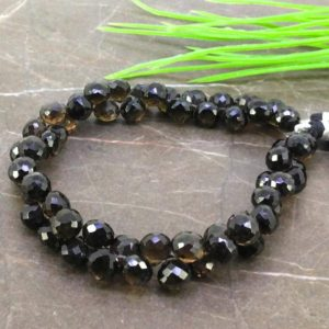 Shop Smoky Quartz Faceted Beads! Natural Smoky Quartz 7-7.5mm Faceted Onion Gemstone Beads / Approx 58 Pieces On 8 Inch Long Strand / Jbc-et-155726 | Natural genuine faceted Smoky Quartz beads for beading and jewelry making.  #jewelry #beads #beadedjewelry #diyjewelry #jewelrymaking #beadstore #beading #affiliate #ad