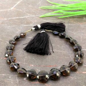 Shop Smoky Quartz Faceted Beads! Natural Smoky Quartz 8-11mm Faceted Cushion Gemstone Beads / Approx 20 Pieces On 8 Inch Long Strand / Jbc-et-155724 | Natural genuine faceted Smoky Quartz beads for beading and jewelry making.  #jewelry #beads #beadedjewelry #diyjewelry #jewelrymaking #beadstore #beading #affiliate #ad