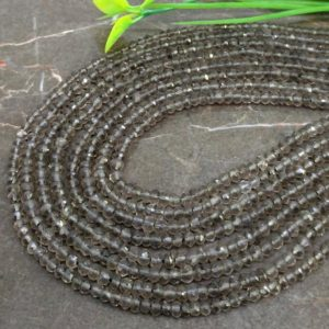 Shop Smoky Quartz Faceted Beads! WHOLESALE! Natural Smoky Quartz 3-3.5mm Faceted Rondelle Gemstone Beads / Approx 150 pieces on 14 Inch long strand / JBC-ET-147526 | Natural genuine faceted Smoky Quartz beads for beading and jewelry making.  #jewelry #beads #beadedjewelry #diyjewelry #jewelrymaking #beadstore #beading #affiliate #ad