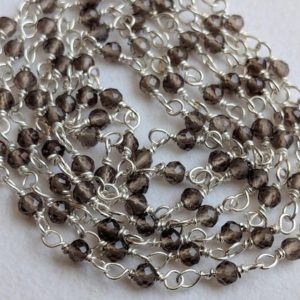 Shop Smoky Quartz Bead Shapes! 2mm Smoky Quartz Wire Wrapped Faceted Rondelle Beads, Rosary Style Chain, 925 Silver Smoky Quartz Rosary Chain ( 1foot To 5feet Options) | Natural genuine other-shape Smoky Quartz beads for beading and jewelry making.  #jewelry #beads #beadedjewelry #diyjewelry #jewelrymaking #beadstore #beading #affiliate #ad