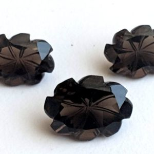 Shop Smoky Quartz Bead Shapes! 3 Pc Set Smoky Quartz Fancy Oval Flower Hand Carved Cut Stones, Filigree Finding, Smoky Quartz Jewelry, Stone Carving, Brown Stones – ANG173 | Natural genuine other-shape Smoky Quartz beads for beading and jewelry making.  #jewelry #beads #beadedjewelry #diyjewelry #jewelrymaking #beadstore #beading #affiliate #ad