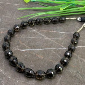 Shop Smoky Quartz Bead Shapes! Natural Smoky Quartz 8-10mm Faceted Drops Briolette Beads / Approx 22 pieces on 8 Inch long strand / JBC-ET-145486 | Natural genuine other-shape Smoky Quartz beads for beading and jewelry making.  #jewelry #beads #beadedjewelry #diyjewelry #jewelrymaking #beadstore #beading #affiliate #ad