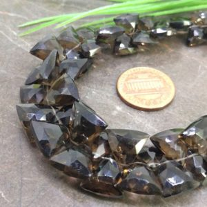Shop Smoky Quartz Bead Shapes! Natural Smoky Quartz 8-13mm Faceted Triangle Briolette Beads / Approx 56 pieces on 8 Inch long strand / JBC-ET-145508 | Natural genuine other-shape Smoky Quartz beads for beading and jewelry making.  #jewelry #beads #beadedjewelry #diyjewelry #jewelrymaking #beadstore #beading #affiliate #ad