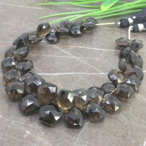 Shop Smoky Quartz Bead Shapes! Natural Smoky Quartz 7-13mm Faceted Hexagon Briolette Beads / Approx 42 pieces on 8 Inch long strand / JBC-ET-145509 | Natural genuine other-shape Smoky Quartz beads for beading and jewelry making.  #jewelry #beads #beadedjewelry #diyjewelry #jewelrymaking #beadstore #beading #affiliate #ad