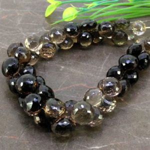 Shop Smoky Quartz Bead Shapes! Natural Smoky Quartz 9-11mm Faceted Onion Briolette Beads / Approx 50 pieces on 9 Inch long strand / JBC-ET-153799 | Natural genuine other-shape Smoky Quartz beads for beading and jewelry making.  #jewelry #beads #beadedjewelry #diyjewelry #jewelrymaking #beadstore #beading #affiliate #ad