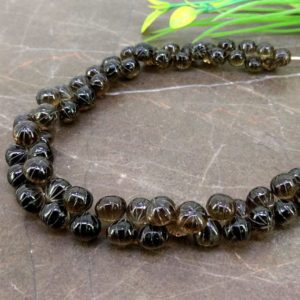 Natural Smoky Quartz 6-9mm Carved Onion Briolette Beads / Approx 70 pieces on 9Inch long strand / JBC-ET-153773 | Natural genuine other-shape Gemstone beads for beading and jewelry making.  #jewelry #beads #beadedjewelry #diyjewelry #jewelrymaking #beadstore #beading #affiliate #ad