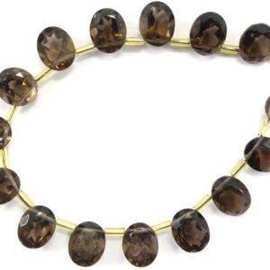 Shop Smoky Quartz Bead Shapes! Top Quality Natural Smoky Quartz 15 Pieces Oval Shape Cut Stone, Size 9×11 MM Smoky Quartz Gemstone, Side Drilled Smoky Cut Stone Wholesale | Natural genuine other-shape Smoky Quartz beads for beading and jewelry making.  #jewelry #beads #beadedjewelry #diyjewelry #jewelrymaking #beadstore #beading #affiliate #ad