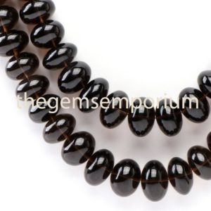 Shop Smoky Quartz Rondelle Beads! Smoky Quartz Plain Rondelle Beads Necklace(11.5-17MM), Smoky Quartz Rondelle Beads, Smoky Quartz Smooth Rondelle Beads, Smoky Quartz Beads | Natural genuine rondelle Smoky Quartz beads for beading and jewelry making.  #jewelry #beads #beadedjewelry #diyjewelry #jewelrymaking #beadstore #beading #affiliate #ad