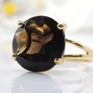 14k Gold Filled Ring, smoky Quartz Ring, double Band Ring, prong Setting Ring, gold Gemstone Ring, gold Ring, solid Gold | Natural genuine Smoky Quartz rings, simple unique handcrafted gemstone rings. #rings #jewelry #shopping #gift #handmade #fashion #style #affiliate #ad
