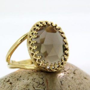 Shop Smoky Quartz Rings! Smoky quartz ring,smokey ring,gold ring,oval ring,bridal ring,bridesmaid gifts,love gift,i love you ring | Natural genuine Smoky Quartz rings, simple unique alternative gemstone engagement rings. #rings #jewelry #bridal #wedding #jewelryaccessories #engagementrings #weddingideas #affiliate #ad