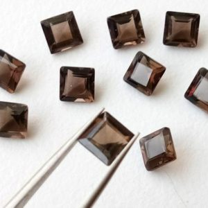 Shop Smoky Quartz Shapes! 10 Pcs Smoky Quartz Princess Cut Stones, Natural Smoky Quartz Square Cut, Loose Gemstone For Jewelry, Brown Stone (10mm To 16mm Options) | Natural genuine stones & crystals in various shapes & sizes. Buy raw cut, tumbled, or polished gemstones for making jewelry or crystal healing energy vibration raising reiki stones. #crystals #gemstones #crystalhealing #crystalsandgemstones #energyhealing #affiliate #ad