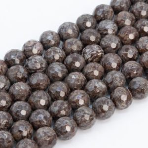 Genuine Natural Brown Snowflake Obsidian Loose Beads Micro Faceted Round Shape 6mm 8mm 10mm 12mm | Natural genuine faceted Snowflake Obsidian beads for beading and jewelry making.  #jewelry #beads #beadedjewelry #diyjewelry #jewelrymaking #beadstore #beading #affiliate #ad