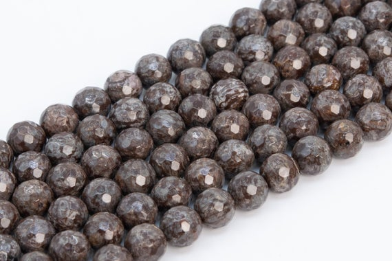 Genuine Natural Brown Snowflake Obsidian Loose Beads Micro Faceted Round Shape 6mm 8mm 10mm 12mm