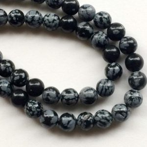 Shop Snowflake Obsidian Necklaces! 8mm Snowflake Obsidian Plain Round Beads, Natural Snowflake Obsidian Smooth Balls For Jewelry, Snowflake Obsidian Beads (1St To 5St Options) | Natural genuine Snowflake Obsidian necklaces. Buy crystal jewelry, handmade handcrafted artisan jewelry for women.  Unique handmade gift ideas. #jewelry #beadednecklaces #beadedjewelry #gift #shopping #handmadejewelry #fashion #style #product #necklaces #affiliate #ad