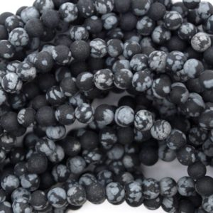 "Shop Snowflake Obsidian Round Beads! Natural Matte Black Snowflake Obsidian Round Beads 15"" Strand 4mm 6mm 8mm 10mm 12mm 