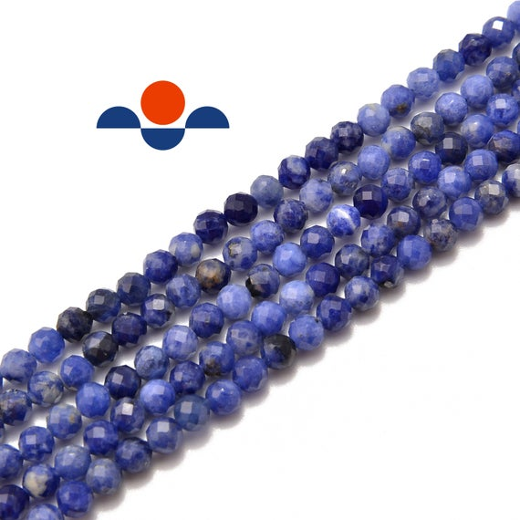 """Blue Sodalite Faceted Round Beads 3mm 4mm 5mm 15.5"""" Strand"""