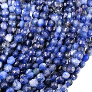 "Shop Sodalite Bead Shapes! Micro Faceted Natural Blue Sodalite 6mm Coin Beads Flat Disc Gemstone 16"" Strand 