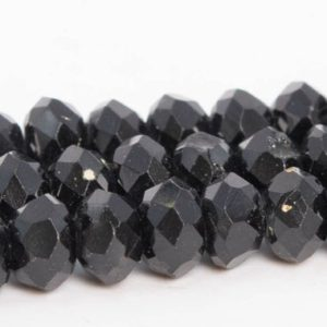 "Shop Spinel Faceted Beads! 5x3mm Black Spinel Beads Grade B Genuine Natural Gemstone Full Strand Faceted Rondelle Loose Beads 15.5"" / 7.5"" Bulk Lot Options (111006-3273) 