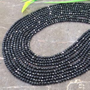 Shop Spinel Faceted Beads! Wholesale! Natural Black Spinel 2-2.5mm Micro Faceted Rondelle Gemstone Beads / Approx 185 Pieces On 14 Inch Long Strand / Jbc-et-147631 | Natural genuine faceted Spinel beads for beading and jewelry making.  #jewelry #beads #beadedjewelry #diyjewelry #jewelrymaking #beadstore #beading #affiliate #ad